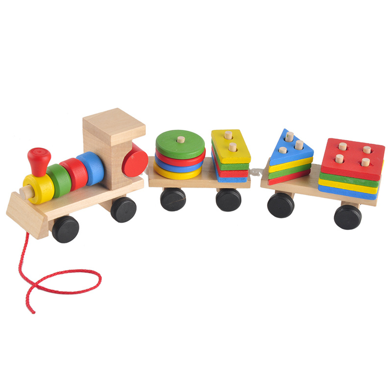 Wooden Toy Train With Building Blocks