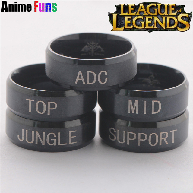 Hot Game League Of Legends Ring ADC TOP MID JUNGLE SUPPORT position Logo Titaniu
