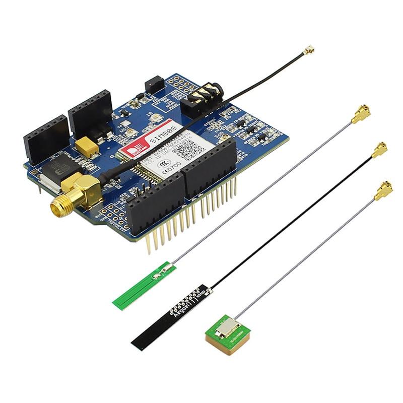 Elecrow SIM808 Bluetooth GSM GPS bouclier pour Arduino SIMCOM quadri-bande Sim808 GSM/GPS/BT Module 3 en 1 carte développée 3 antennes