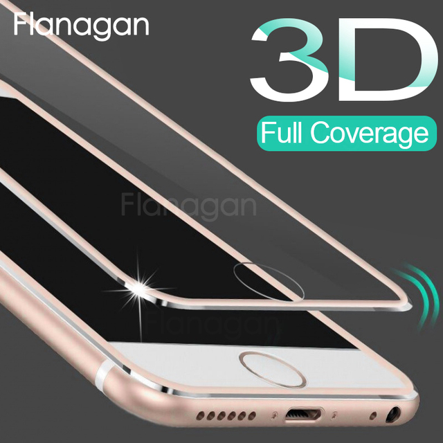 FlanaGan 3D Full Coverage Tempered Glass For iPhone 7 8 6S 6 Plus Screen Protection Film On The For iPhone SE 5 5S 6S Glass Film