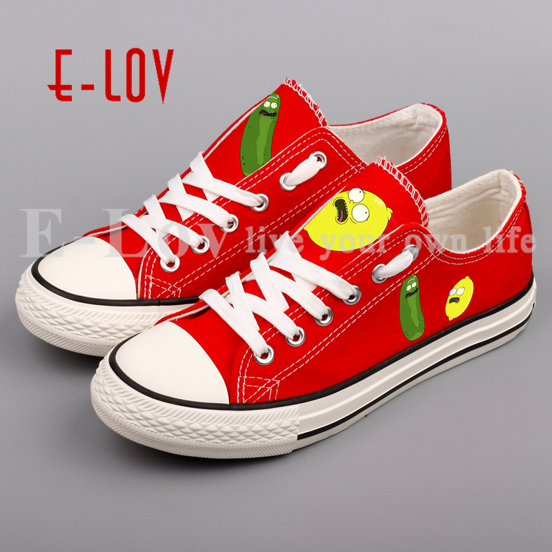 E-LOV Cartoon Printed Design Women Canvas Shoes DIY Cosplay Anime Fans Casual Flats Chaussures Femmes e lov unique design taurus horoscope luminous canvas shoes women diy graffiti couples lovers casual flats zapatillas mujer