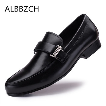 New fashin buckle brand designer genuine cow leather men shoes loafers business casual shoes high quality office work men shoes