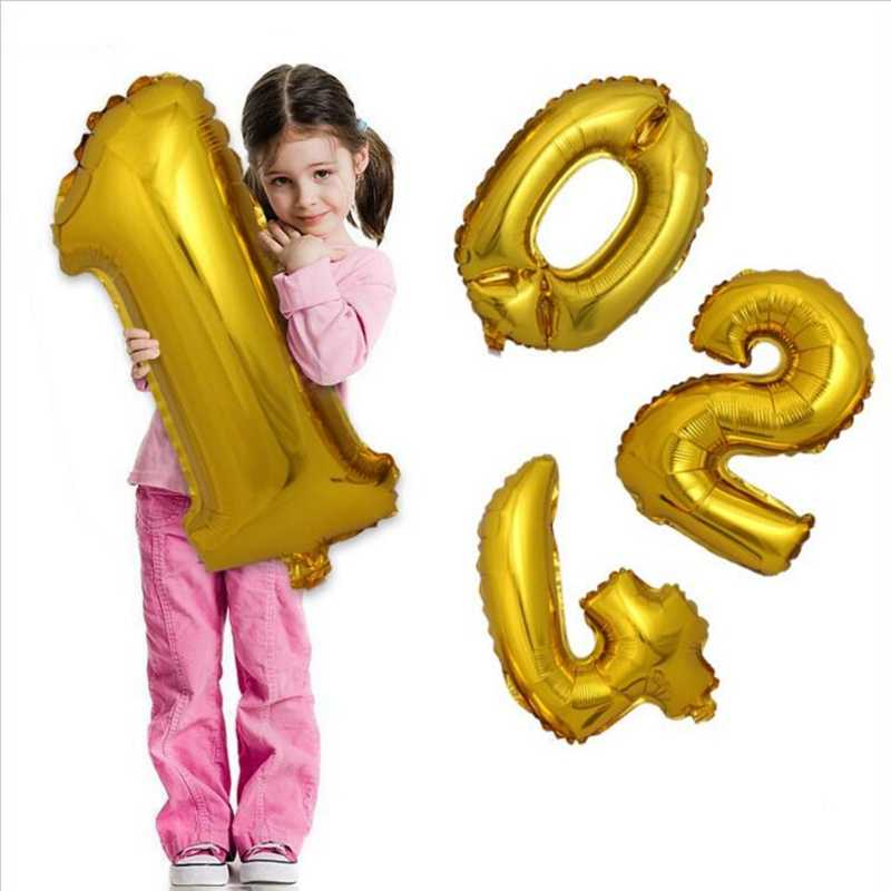 32inch Foil Number Gold Silver Balloon Big Wedding Happy Birthday Merry Christmas 2020 New Year Party Decoration Giant Digital