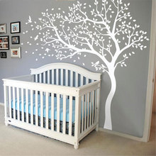 Large Size Corner White Tree With Leaves And Birds Wall Sticker Vinyl Home Decor Nursery Kids Baby Bedroom Decals Murals 3524