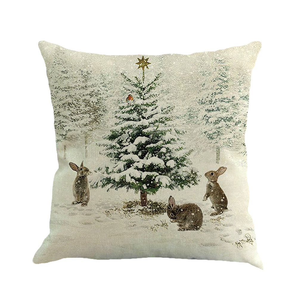 ISHOWTIENDA Christmas Linen Square Throw Flax Pillow Case Decorative Cushion Pillow Cover New