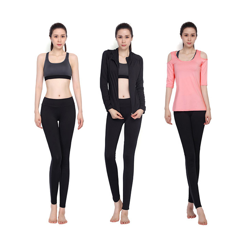 New Yoga Set Women Black Gym Clothes Strapless Long Sleeve T-Shirts+Bra+Pant+Jackets 4 Pcs Fitness Breathable Running Sport Suit