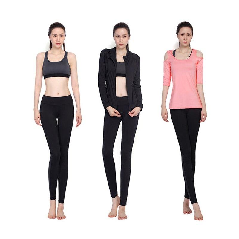 Novo Conjunto de Yoga Mulheres Roupas de Ginástica Preto Sem Alças de Manga Comprida T Shirt + Bra + Calça + Casacos 4 pcs de Fitness Respirável Correr Desporto Suit