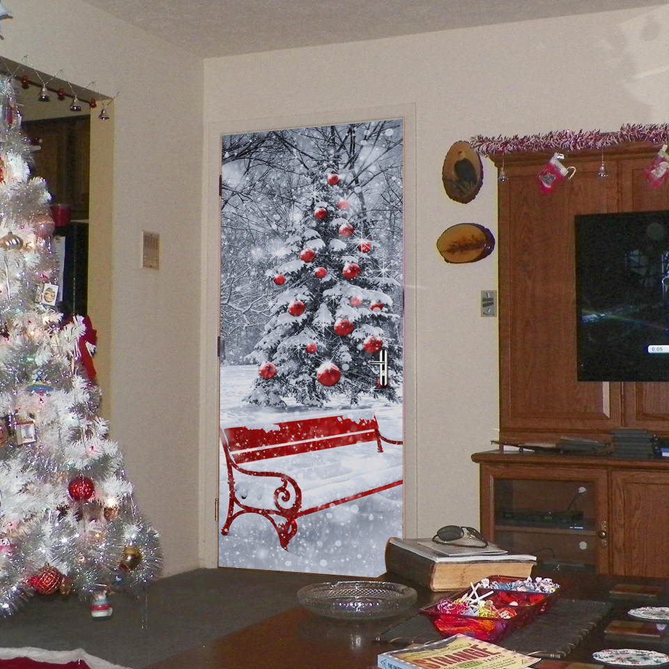 Christmas Day Santa Clause Door Stickers Self Adhesive Dorm Room Door Revonation School Dormitory Wallpaper Vinyl Poster Sticker