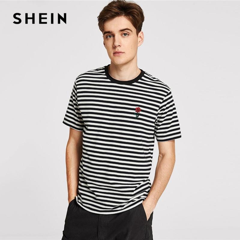 SHEIN Männer Schwarz und Weiß Gestreiften Rose Bestickt T Casual Langarm Rundhals T-shirt Frauen Floral Sommer Tops