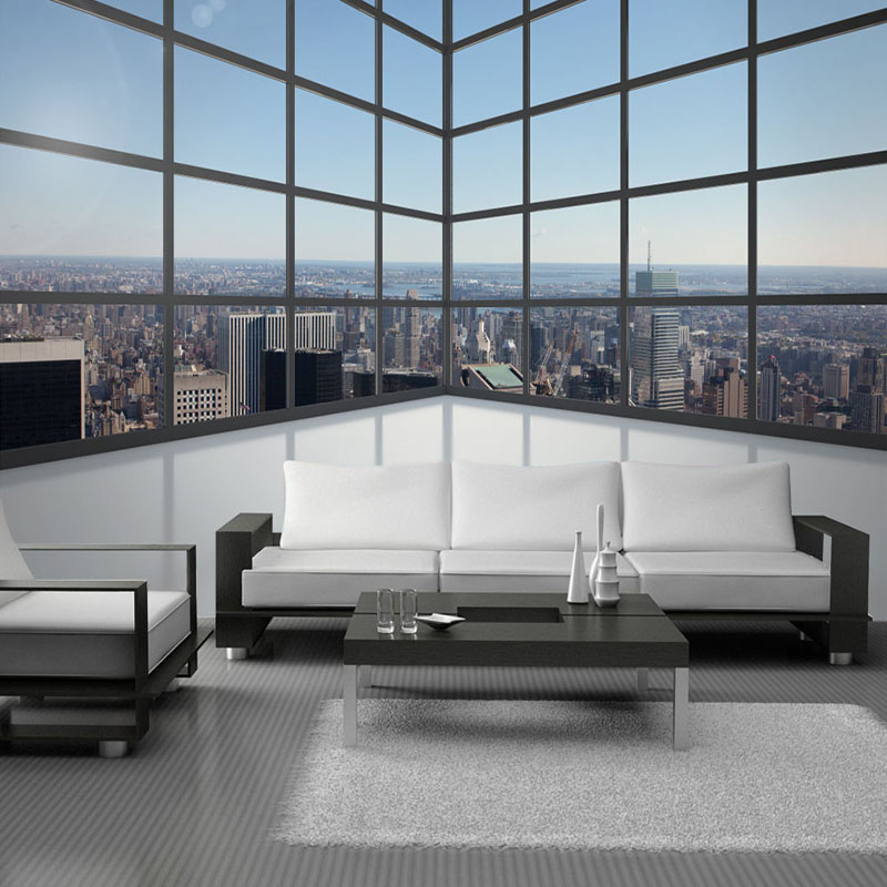 Custom Photo Background Wall Mural Wallpaper 3D Stereoscopic Space Balcony Glass Windows City Building Murals Papel De Parede 3D