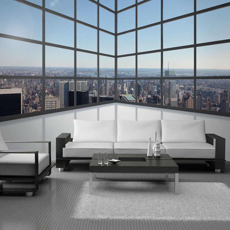 Foto Kustom Latar Belakang Dinding Mural Wallpaper 3D Stereoscopic Ruang Balkon Jendela Kaca Bangunan Kota Mural Papel De Parede 3D