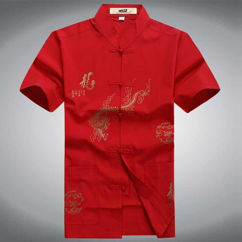 Zomer Korte Shirts Traditionele Chinese Heren Rood Zwart Wit Kung Fu Martial Arts Uniform Shirt Draak Geborduurde Top