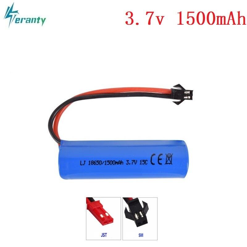 3,7 V 1500mAh 15c Lipo batería de control remoto helicóptero/aviones/batería de coche 3,7 v 18650 cilíndrico Lipo batería SM enchufe