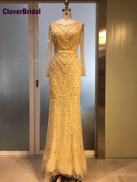 CloverBridal High quality gold long sleeves sexy deep low V back evening dresses long 2017 silver high-end dress luxury stones