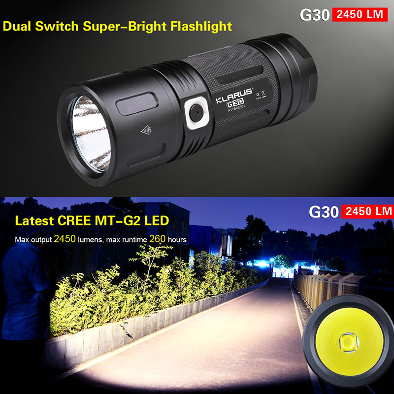 LED Flashlight KLARUS G30 CREE MT-G2 LED 2450 lumens dual switch waterproof torch for outdoor sports with batteries free shipping amusement multi video games pandora 520 in 1 pcb game board kit cga