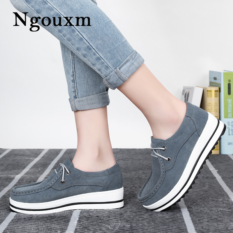 Ngouxm Autumn women flat platform shoes s thick soled suede leather female casual shoes lace up flats creepers ladies