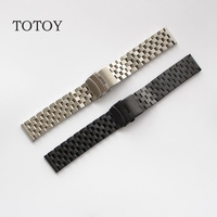 TOTOY, 316L Stainless Steel Watchbands, Screw Silver / Black Men Watch Strap, Silver / Black Stainless Steel Strap