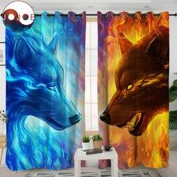 Огонь и лед JoJoesArt Шторы s для Гостиная Спальня 3d Волк волки Шторы обработки окна шторы Синий домашний декор 1/2 шт.