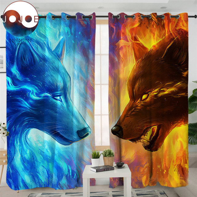 Fire and Ice by JoJoesArt Curtains For Living Room Bedroom 3d Wolf Wolves Curtain Window Treatment Drapes Blue Home Decor 1/2pcs