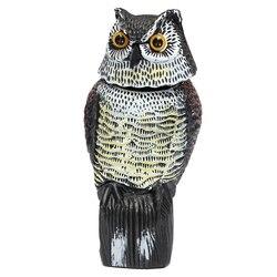 Large Realistic Owl Decoy Rotating Head Weed Pest Control Crow Scarecrow Decoy Scarer Lifelike Garden Yard Bird