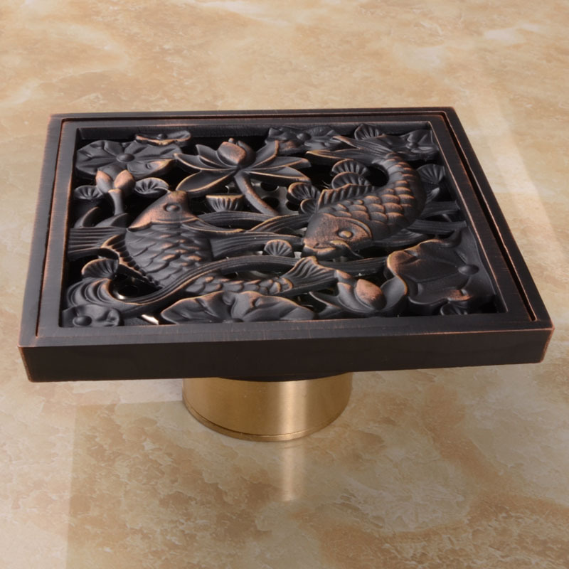 Oil Rubbed Bronze Finish Square Floor Drain Art Carved Shower Ground