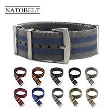 20 22 мм синий/серый полосатый ремешок Nato для армейские спортивные часы нейлоновый ремешок для часов James Bond Watch