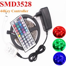 DC 12V 5M /Roll 3528 SMD LED Strip RGB light Ribbon 60pcs/m Non-waterproof RF/44Key Remote Controller 2A Adapter Indoor lighting
