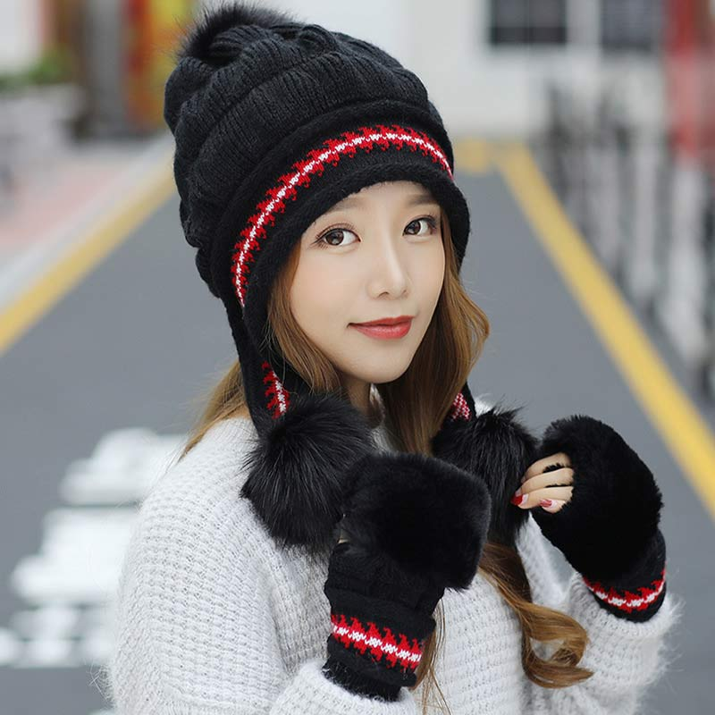 Women's Kits Knitted Earflaps Hat And Faux Fur Gloves 2pcs Set Winter Accessory Black White Red Blue Pink