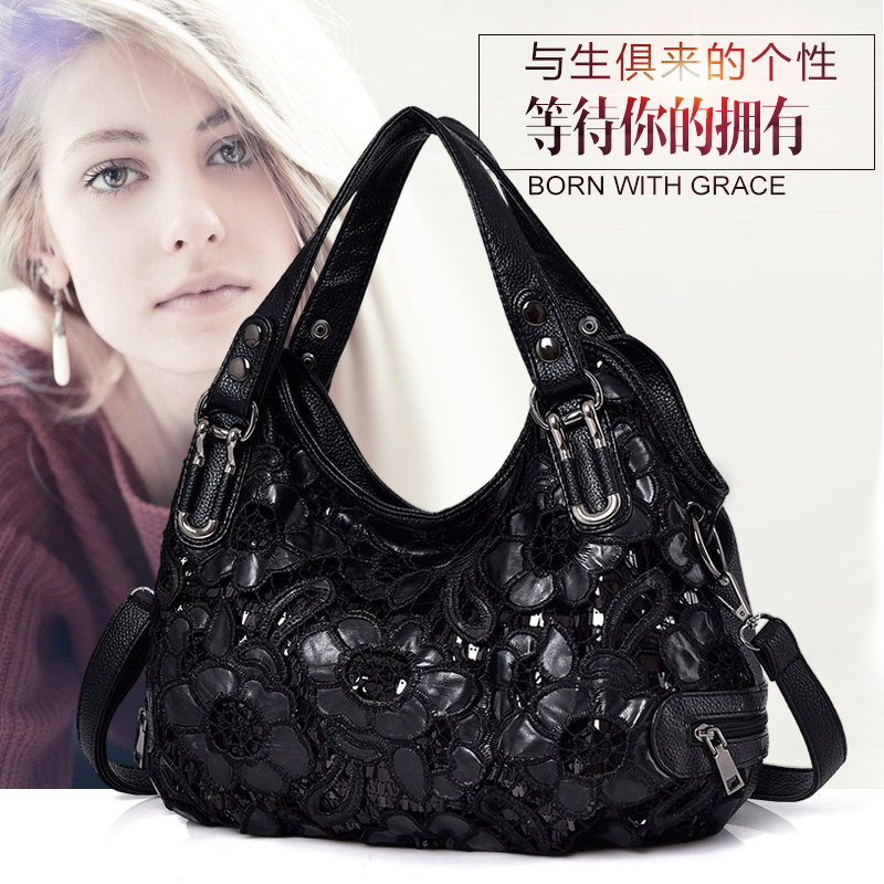 Women Bag 2018 New Embroibery Lace Designer Handbag High Quality Casual Soft Office Lady Hobo Bag Black Floral Female Sling Bag alfani new blue black women s xl knit floral lace sheer gathered blouse $89 090