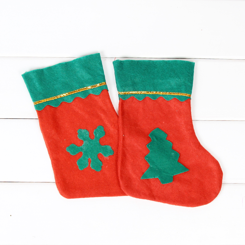 US $1.14 5% OFF Small green edge Christmas stockings children Christmas  Tree Decoration pendant socks Santa Claus Candy Bag Christmas gift bag-in  ...