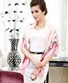 110 см Люблю шелк язык Розовый Элегантный Чистого шелка обертывание женская большой Площади Шелковый Шарф креп-сатин равнине квадратных шелковых шарфы