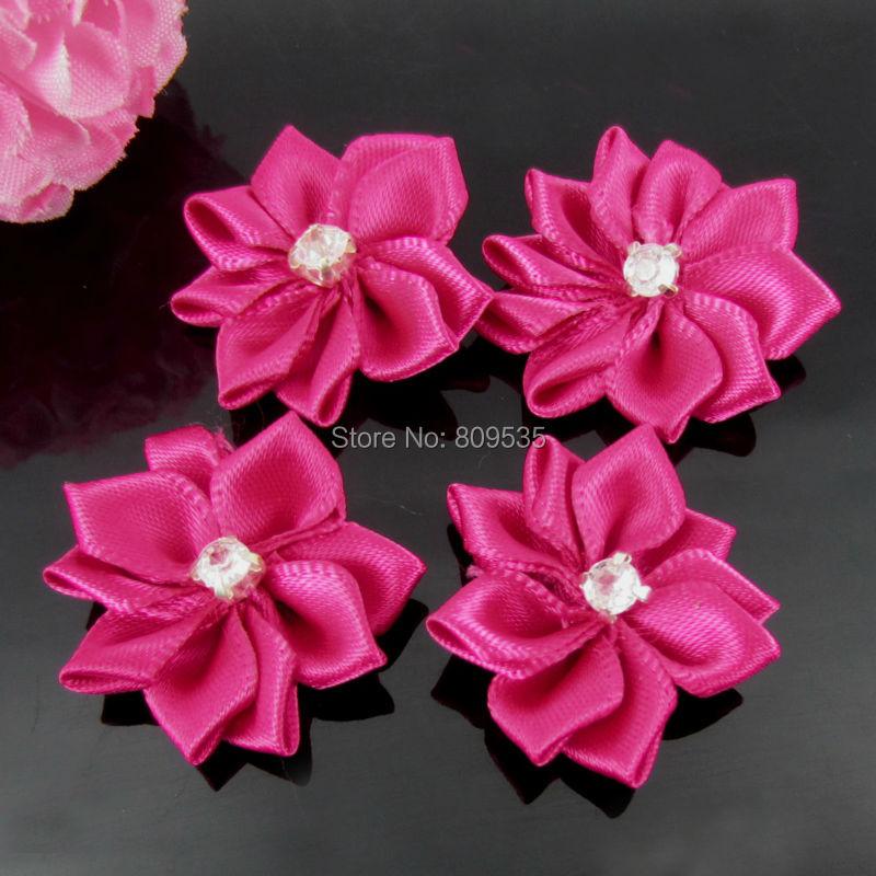 40Pcs Plum Handmade Small Fabric Satin Flowers with Rhinestone Appliques  Sewing Wedding Garment Accessories Flowers 2.8 76eac48ca9ec