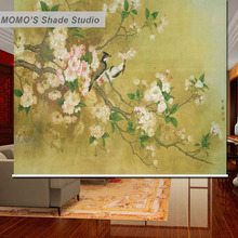 MOMO Blackout Floral Window Curtains Roller Shades Blinds Thermal Insulated Fabric Custom Size Alice 461 469
