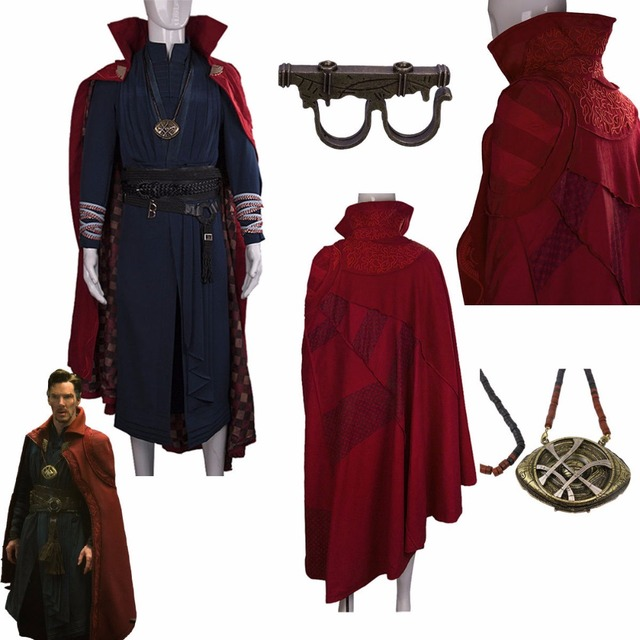 2016 Marvel Movie Doctor Strange Costume Cosplay Steve Red Cloak Full Set Costume Robe Halloween Costume 2