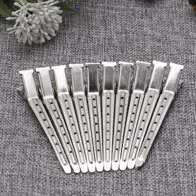 10pcs Stainless Steel Hair Clips Hairdressing Duck Bill Alligator Clips Styling Tool