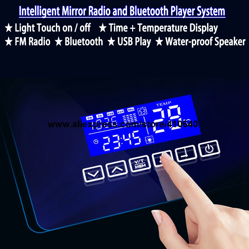 Bathroom Mirror Surface Time Temperature Date Display Music System With Radio And Bluetooth Play USB Port