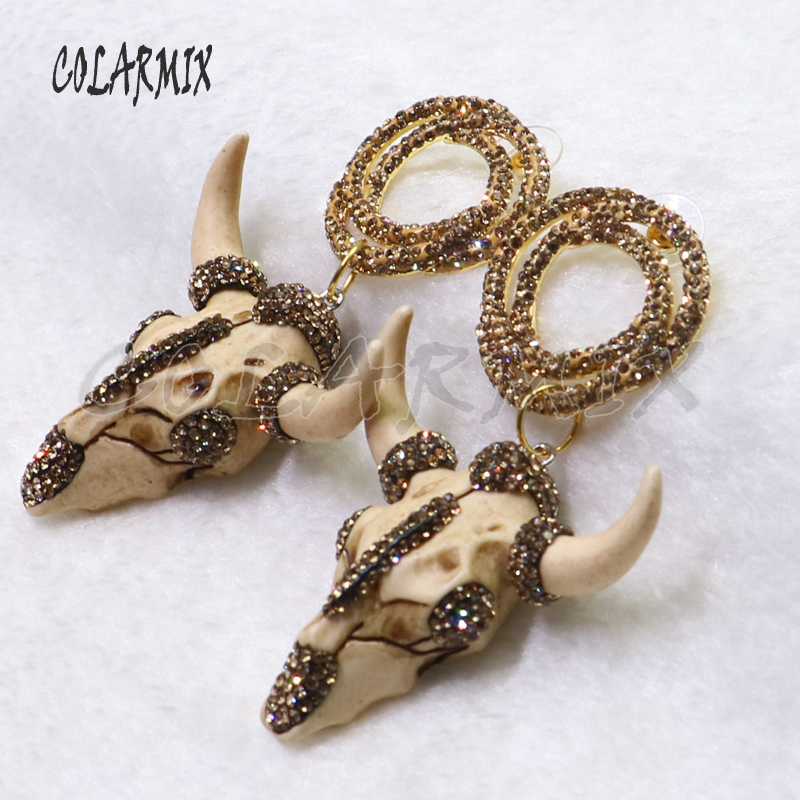 3 pairs crystal earrings with buffalo earring cattle earrings wholesale jewelry for women dangle earring gift