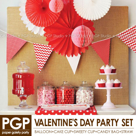 [PGP] Red Valentine's Day Party Set, Paper Medallions Honeycomb Cup Flag Straw for Girls Birthday Weddings Party Decoration