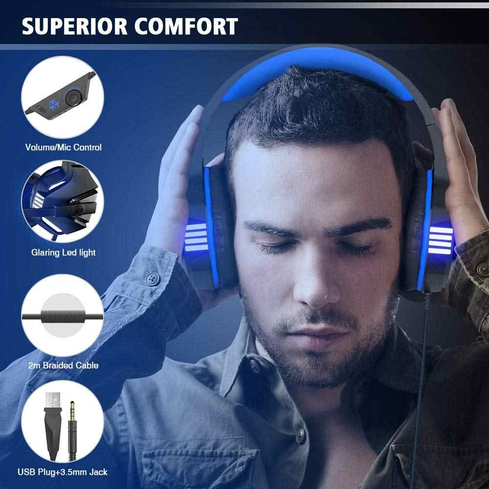 Hunterspider V3 Stereo Gaming Headset for PS4 Xbox One, Over Ear Headphones  with Noise Isolating Mic, LED Light for Laptop, PC