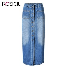 Brand Vintage Style Ladies High Waist Denim Long Straight Skirt Ladies Hip Skirt Washed Denim Skirts Plain Color Classic Design