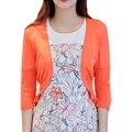 Corto de color naranja chaqueta de punto Primavera verano nuevo aire acondicionado camisa Delgada pequeño chal chaqueta de punto fino suéter mujeres vestidos LXJ227