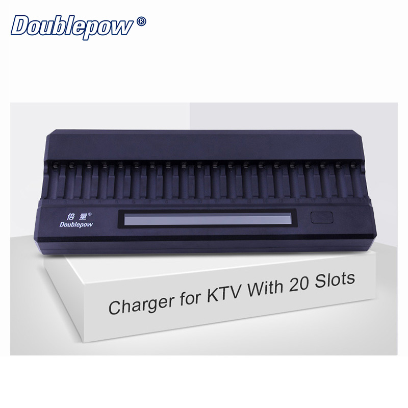 20 slots Doublepow DP-K20 DC 12V 2A LCD Intelligent Rapid Battery Charger for 1.2V AA Ni-MH/Ni-CD KTV Dedicated Microphone nokoser d6u 6 slot lcd intelligent li ion lifepo4 battery charger for rechargeable ni mh ni cd aaa sc 26650 18650 batteries