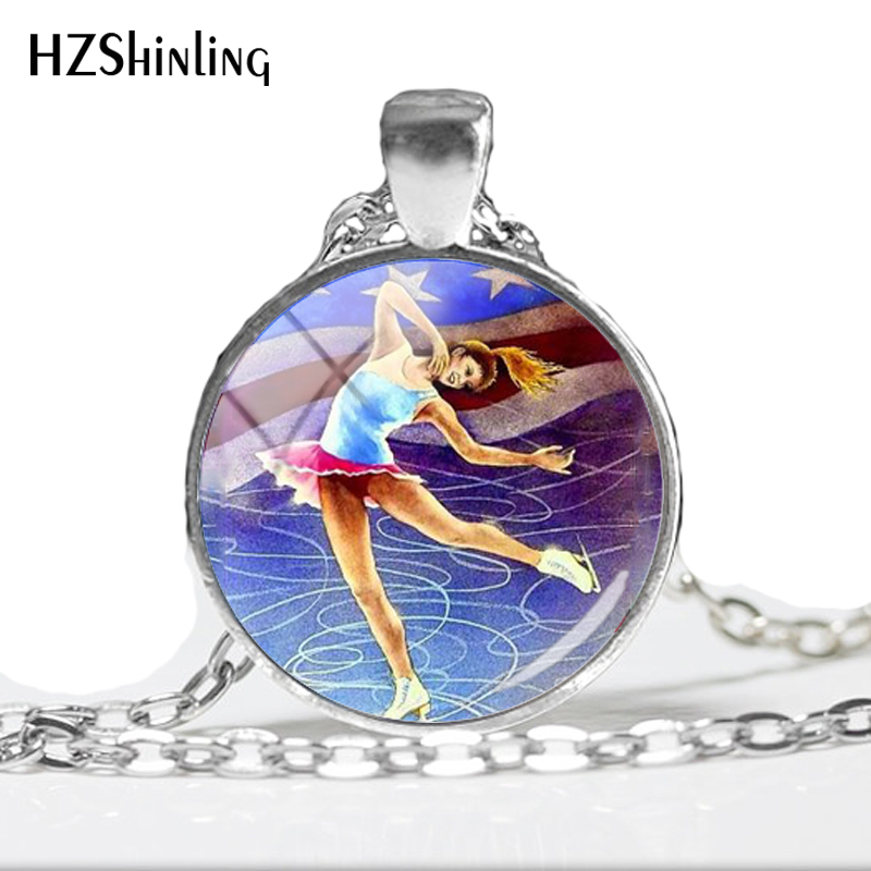2018 NEW Figure Skating Necklace Dance On Ice Pendant Handmade Jewelry Round Glass Dome Photo Pendants Necklaces HZ1