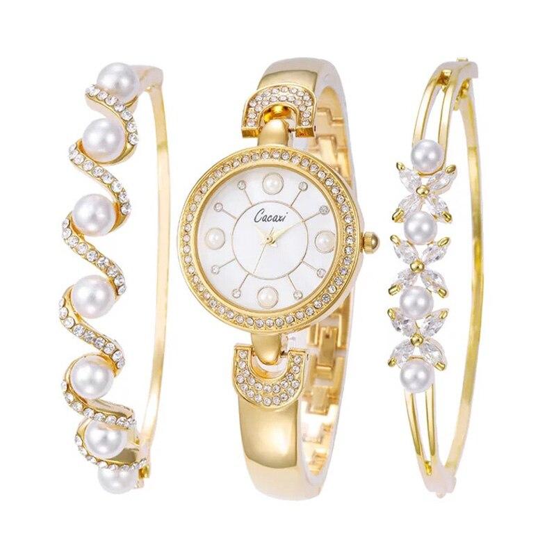 Cacaxi Luxury Brand Women Fashion Analog Quartz Women Wave Rhinestone Watch Pearl Bracelet Women's watches pearl wristwatch sweet rhinestone and faux pearl embellished floral double layered bracelet for women