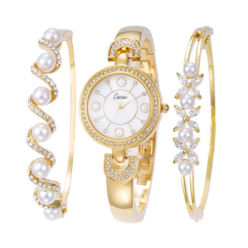 Cacaxi Luxury Brand Women Fashion Analog Quartz Women Wave Rhinestone Watch Pearl Bracelet Women's watches pearl wristwatch
