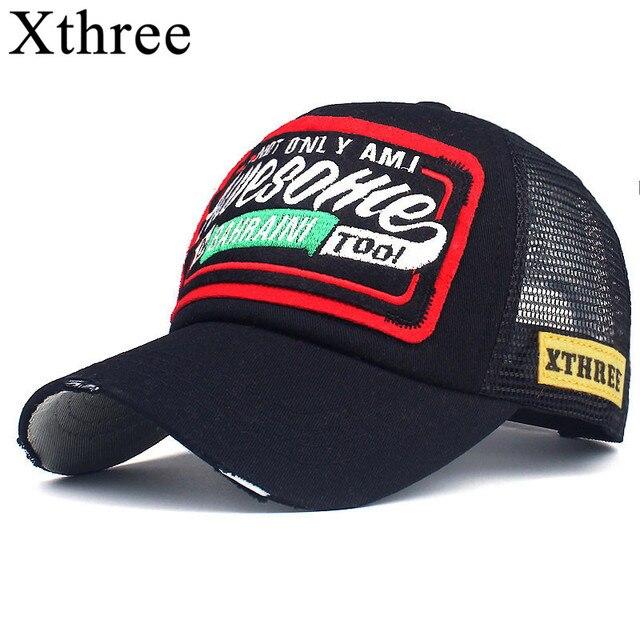 Xthree Musim Panas Bisbol Tutup Bordir Jaring Tutup Topi untuk Pria Wanita  Bertali Belakang Gorras Hombre a617276e36