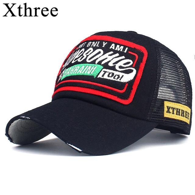 $ US $6.38 Xthree Summer Baseball Cap Embroidery Mesh Cap Hats For Men Women Snapback Gorras Hombre hats Casual Hip Hop Caps Dad Casquette