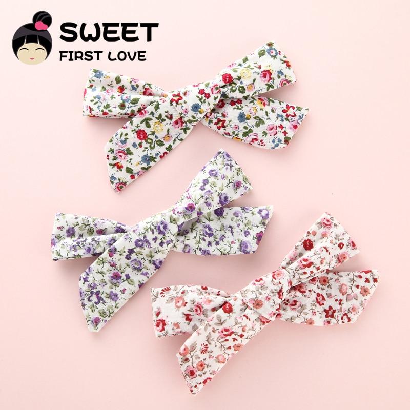3PCS Floral Fabric bow Clips, Boutique Cotton Cloth Hair bow Hair Clips, Hair Barrettes Kids Girl's   Headwear   Hair Accessories