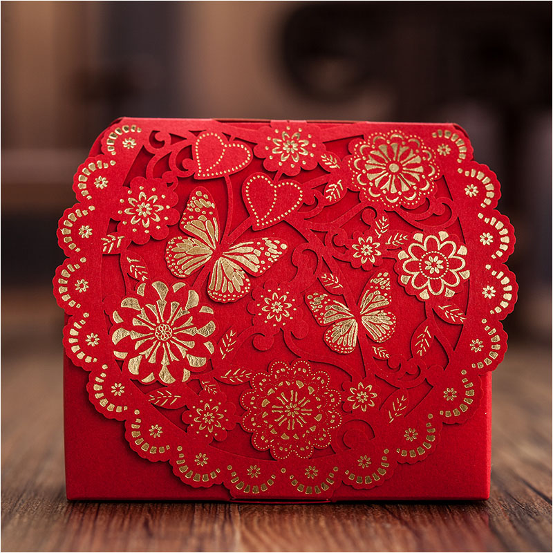 Luxury Gold Red Butterfly Sweetheart Wedding Boxes 60pcs