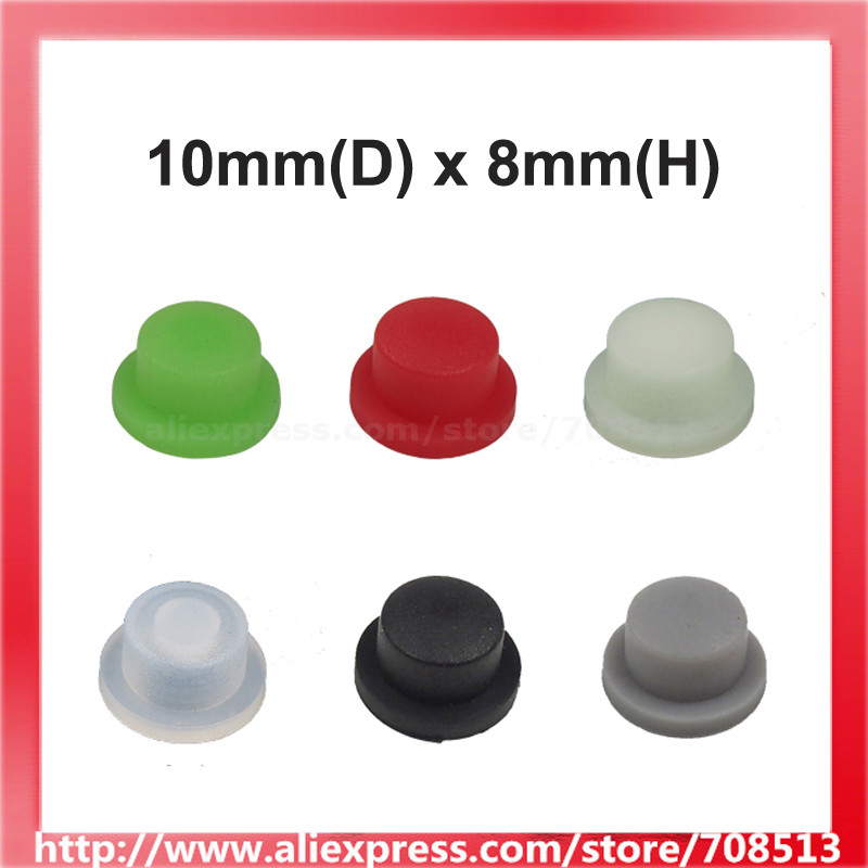 10mm(D) X 8mm(H) Silicone Tailcaps For LED Flashlight - 10 Pcs